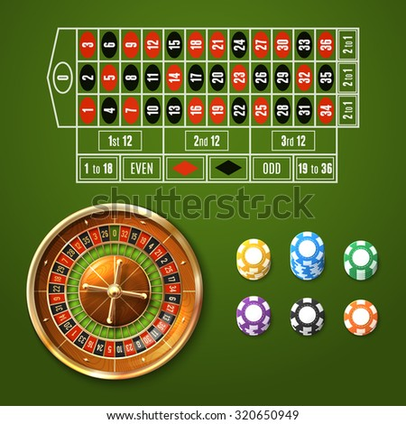Casino gambling set with european roulette wheel and chips stacks isolated  illustration