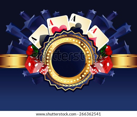 Casino gold-framed composition with cards, dice and cherries on blue star background - stock photo