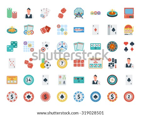 Casino icon set. Flat related icon set for web and mobile applications. It can be used as - logo, pictogram, icon, infographic element. Illustration.  - stock photo