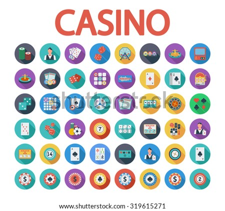 Casino icons set. Flat related icon set with long shadow for web and mobile applications. It can be used as - logo, pictogram, icon, infographic element. Illustration.  - stock photo