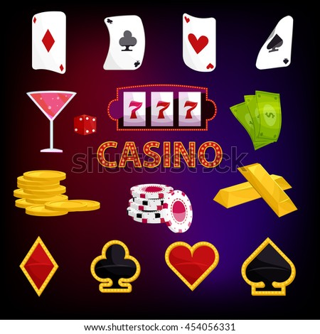 Casino icons set in cartoon style illustration