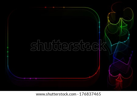 Casino illustration with block for text - stock photo
