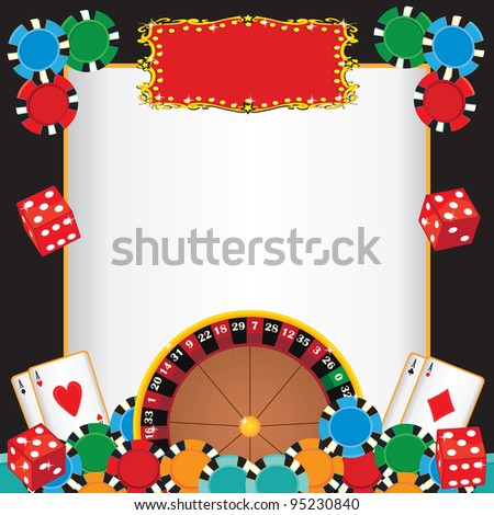 Casino Night Party Event Invitation with Roulette wheel, gambling chips, playing cards and dice with a red marquee to highlight your event name. - stock photo