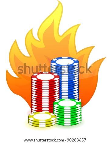 Casino poker chips on fire illustration design on white background - stock photo