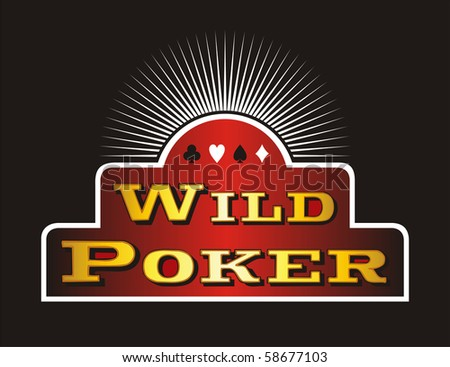 Casino Poker icons on red banner. Black background. - stock photo