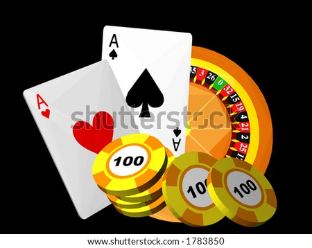 Casino: Roulette, cards, chip - stock photo
