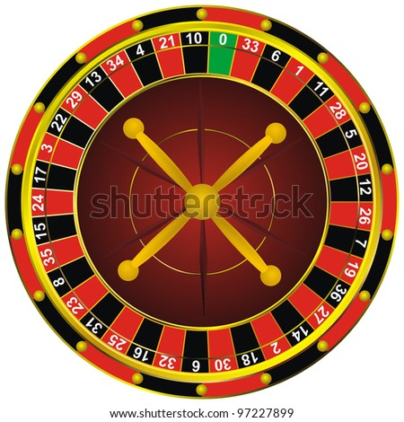 casino roulette colorful wheel, isolated on white
