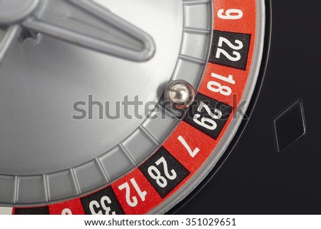 Casino roulette detail with ball in number twenty-nine. Gambling. Horizontal
