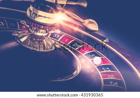 Casino Roulette Game. Casino Gambling Concept 3D Render Illustration. The Wheel of Fortune. - stock photo