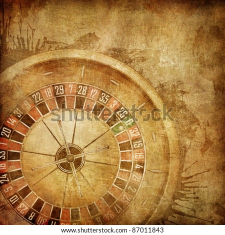Casino Roulette on the Old Paper Background. - stock photo