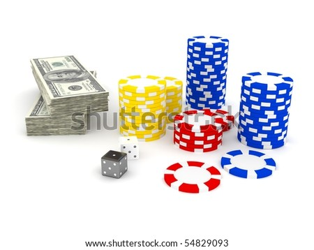 Casino Roulette's chips. 3d rendered image - stock photo