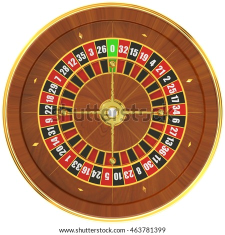 Casino roulette, top view. 3D rendering isolated on white background