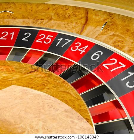 Casino roulette wheel close up. Gambling illustration concept. - stock photo
