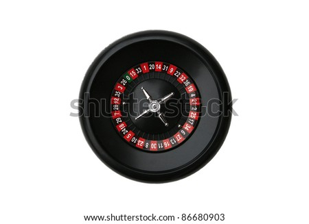 Casino Roulette Wheel isolated on white background - stock photo