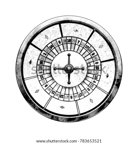 Casino roulette wheel. Isolated on white background. Sketch illustration.