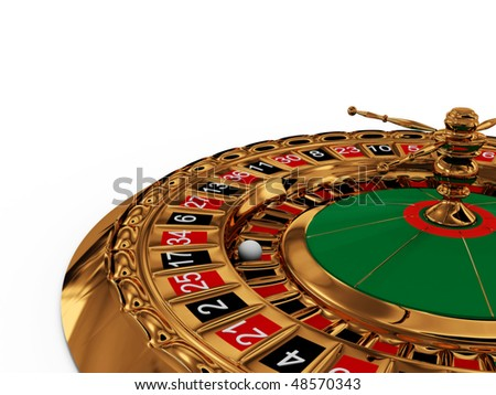 Casino roulette wheel on white background. 3D - stock photo