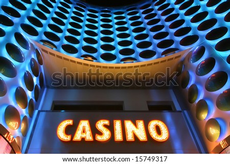 Casino sign in lights at the Las Vegas Strip - stock photo