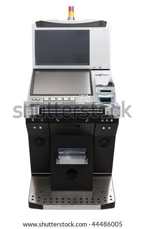 Casino slot machine isolated on white background - stock photo