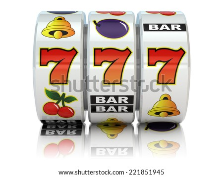 Casino. Slot machine with jackpot on white isolated background. 3d - stock photo