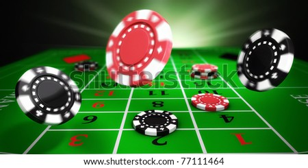 Casino tokens rolling on roulette felt table (3d illustration) - stock photo