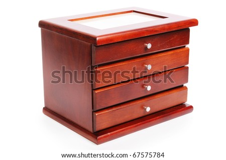Casket for storage of jewelry over white