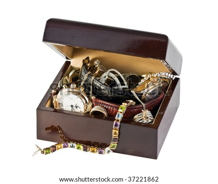 casket of jewels, watches, coins isolated on white