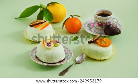 cassata mini cakes (Cassata siciliana) -  traditional sweet from Palermo and Messina for Easter, Sicily, Italy