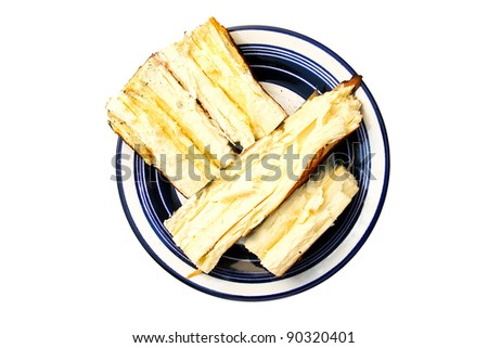 Cassava Light  grill into dish. isolated on white background. - stock photo