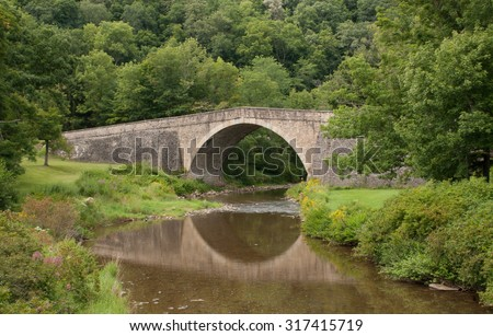 Casselman Bridge, a stone arch bridge built in 1813, located in Casselman River Bridge State Park, Garrett County, Maryland