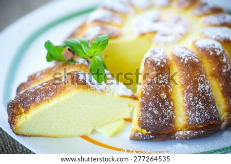 casserole cottage cheese in powdered sugar with a sprig of mint - stock photo