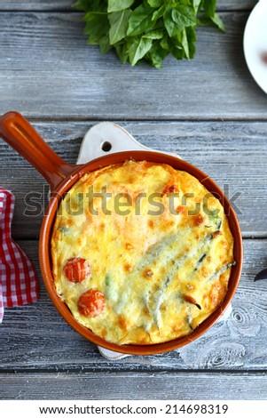 Casserole homemade tasty food closeupe - stock photo