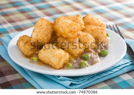 Casserole made of tater tots, cheddar cheese, ground beef, peas, and onions. - stock photo