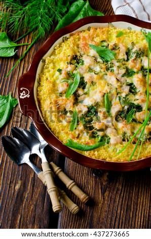 Casserole millet, spinach and chicken - stock photo