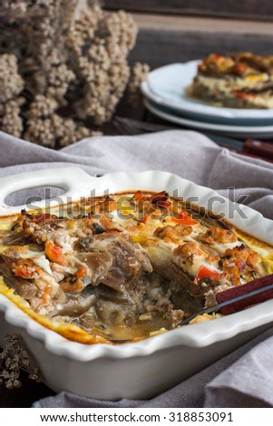 casserole of eggplant and minced meat