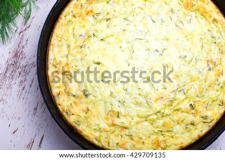 casserole  vegetables, cheese and zucchini - stock photo