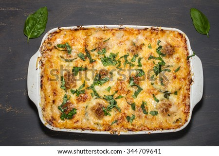 casserole with cheese, minced meat and zucchini