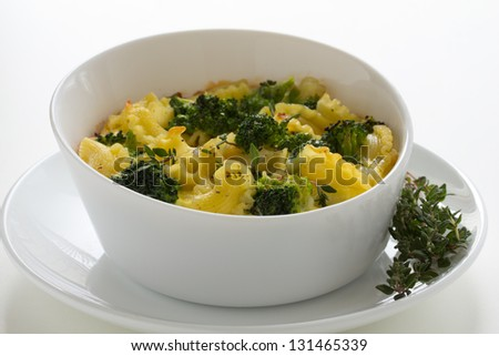 Casserole with pasta and broccoli. - stock photo