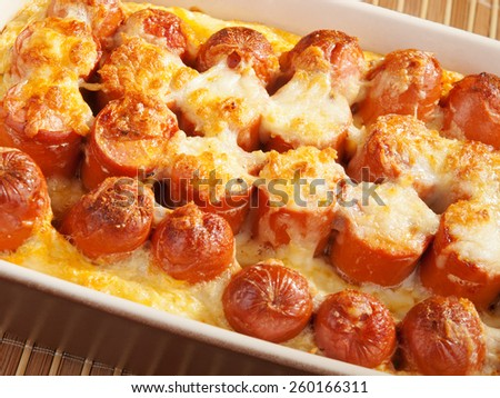 Casserole with sausage and mozzarella in a baking dish