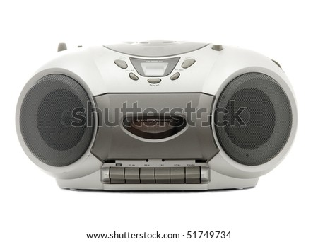 Cassette and compact disc player on white background - stock photo