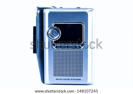 Cassette player on the white background. - stock photo