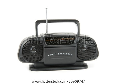Cassette stereo radio isolated over white background - stock photo