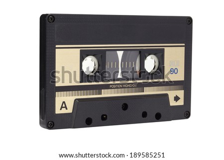 Cassette tape isolated on a white background - stock photo