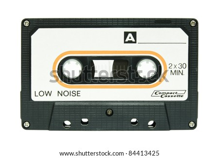 cassette tape isolated on white - stock photo