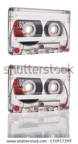cassette tape isolated on white background  - stock photo