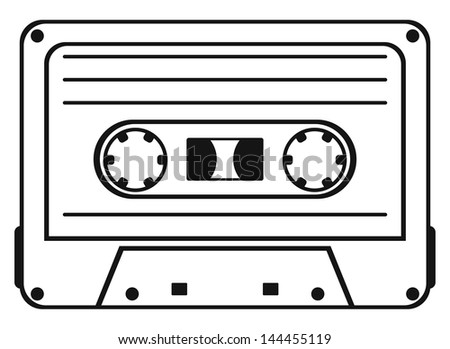 Cassette tape isolated on white background. Raster version - stock photo