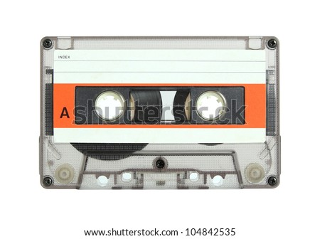 cassette tape isolated on white with clipping path - stock photo