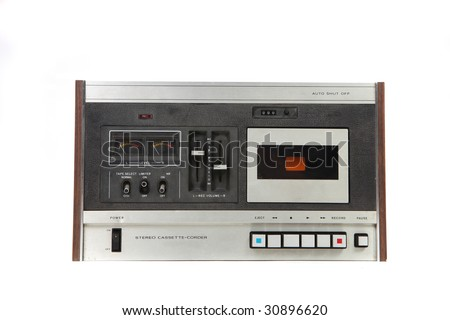 Cassette Vintage Tape Recording Device Isolated on White Background - stock photo