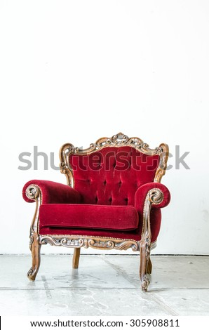 Cassical vintage armchair on white background
