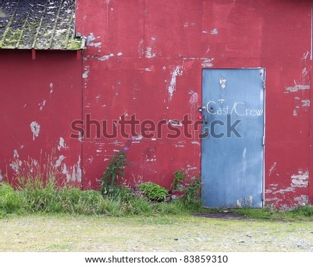 Cast and crew entrance door to a funky run down small theater