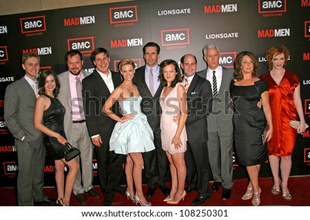 """Cast and crew of """"Mad Men""""  at the Premiere of """"Mad Men"""" Season 2. Egyptian Theatre, Hollywood, CA. 07-21-08 - stock photo"""